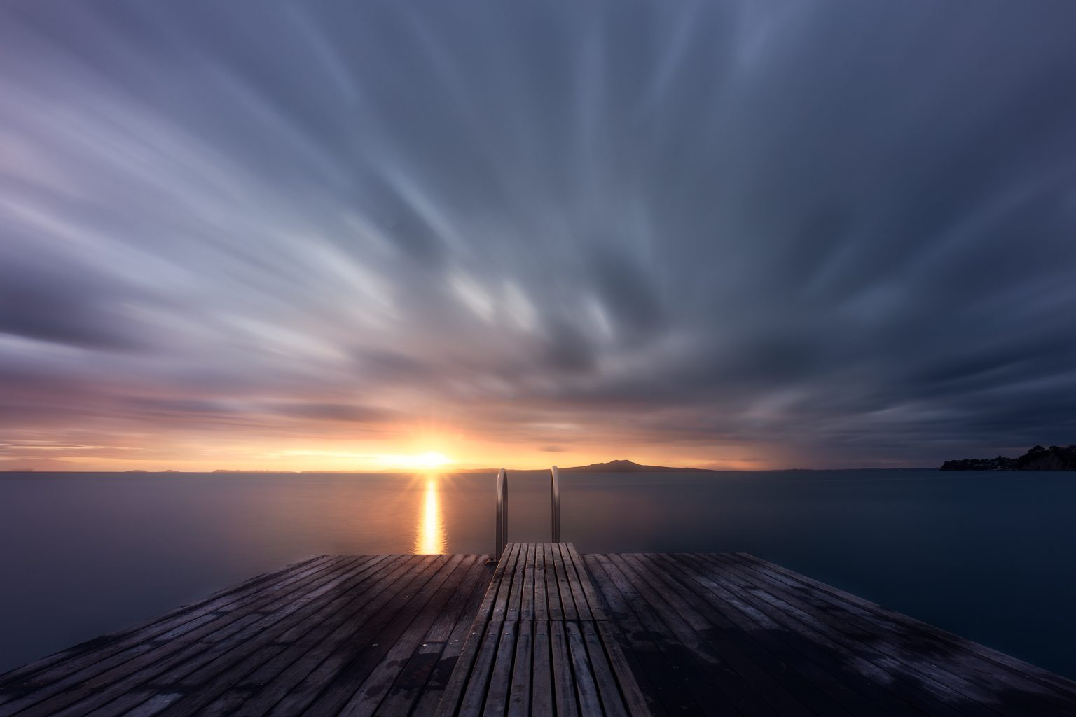 Sunrise Over Rangitoto Island From Murrays Bay Jetty